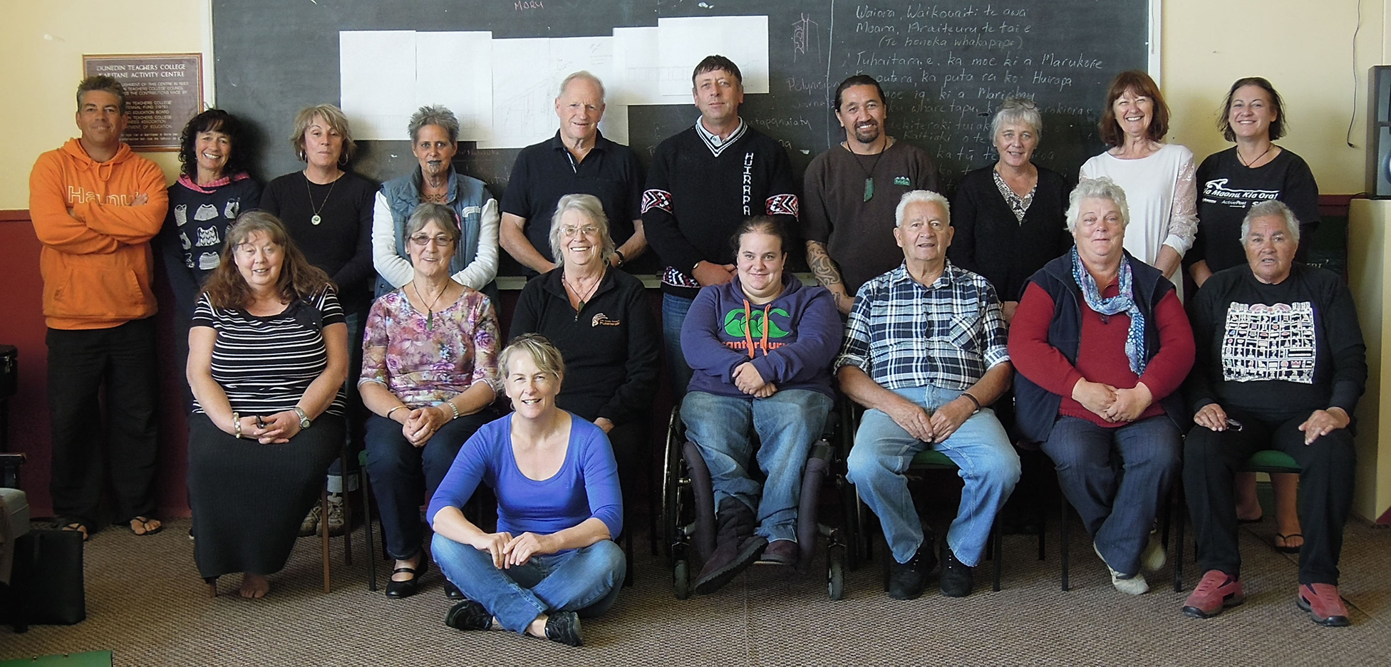 Whānau who attended the last whakapapa hui held at the old school complex in Karitāne.