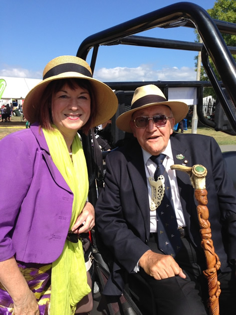Committee member, Annis Somerville at Te Matatini with Tā Tipene O'Regan.