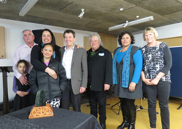 From left, Paul Madgwick with moko Charlotte Russell, Susan Wallace with daughter Karera Wallace-Jones, Mike Slater, Richard Wallace, Rachael Forsyth and Viv Slater.