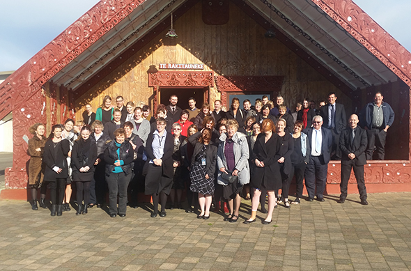 Invercargill City Council staff at the marae for their cultural experience.