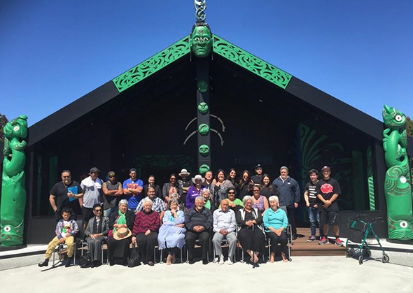 Our whānau together outside Tūhuru.