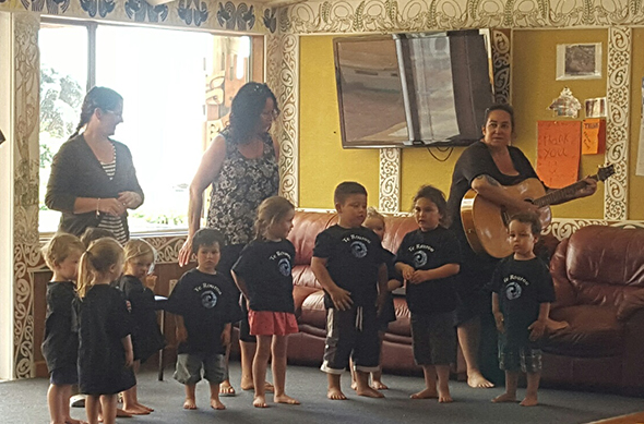 Some of our tamariki and their kaiako performing at the lunch.